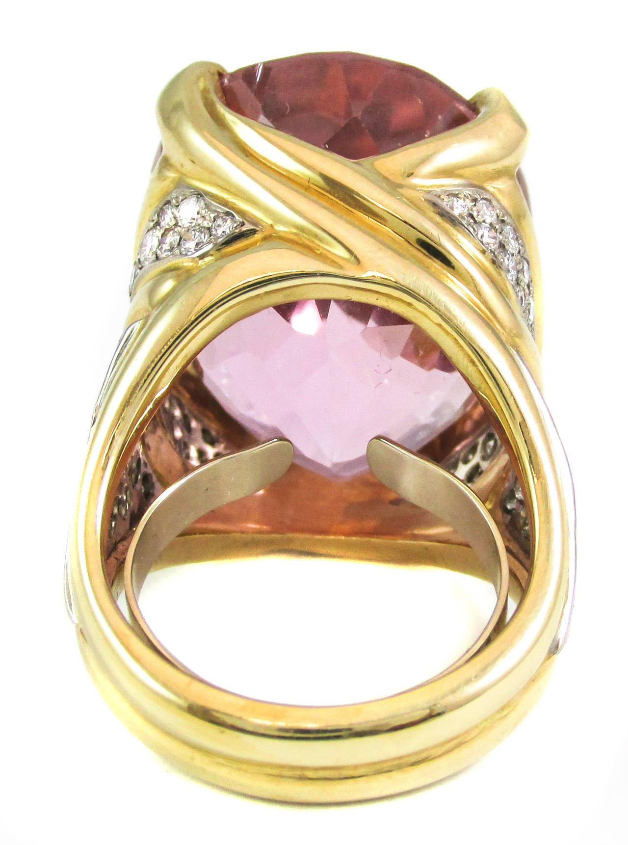 Impressive Rose Pink 50 Carat Kunzite Diamond Ring For