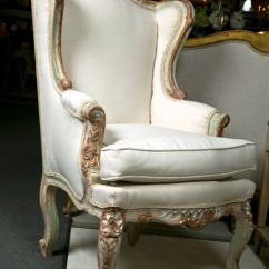 French Bergere Chair And Ottoman Hobby Lobby Wedding Covers Pair Of Painted Rococo Style Chairs At 1stdibs