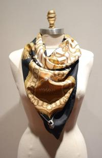 Hermes Vintage Cliquetis Black and White Silk Scarf at 1stdibs