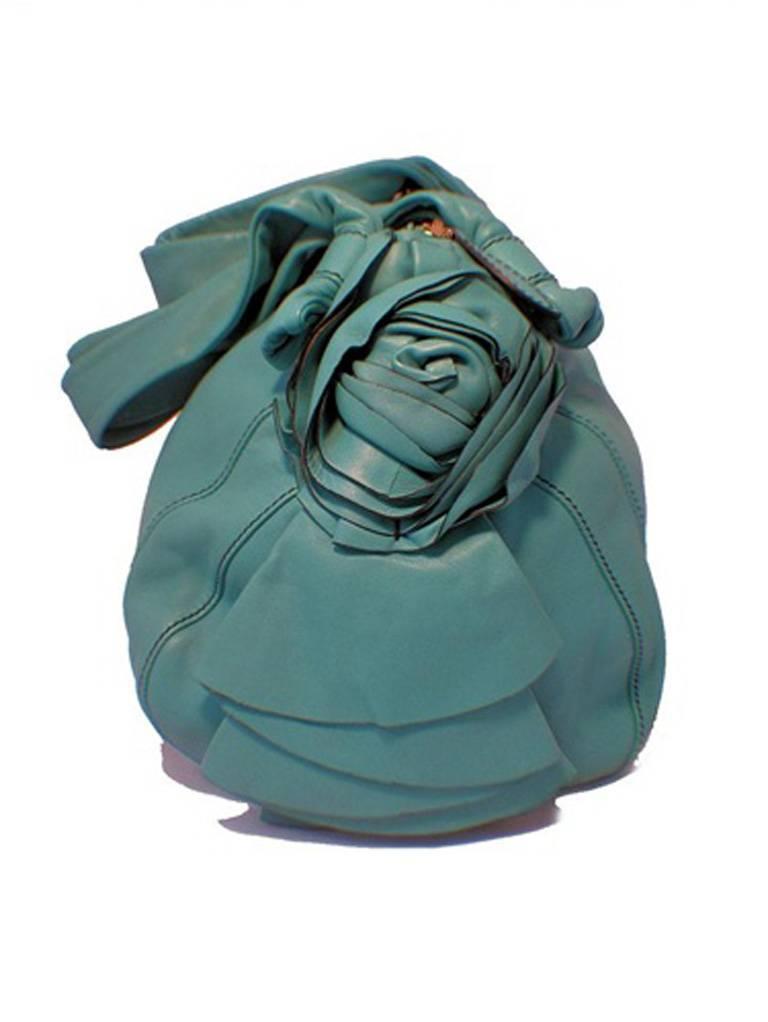 Valentino Teal Lambskin Shoulder Tote Handbag For Sale At