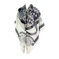 Hermes Brandebourgs Black White Cashmere Silk Shawl Scarf ...