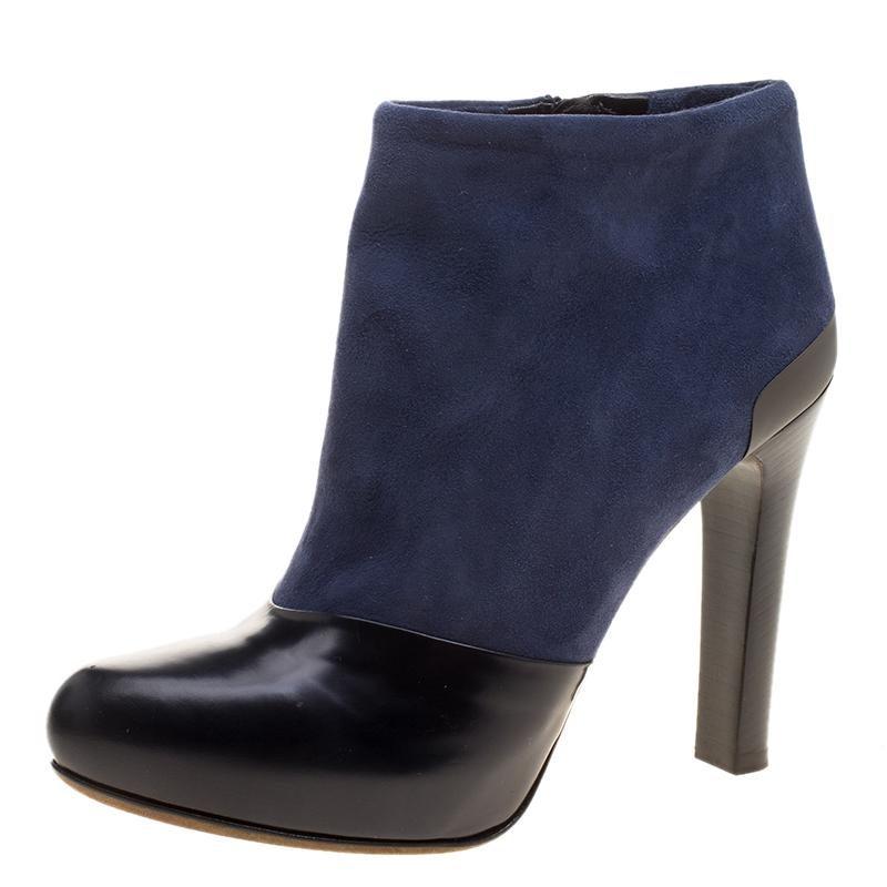 Blue Kitten Heel Leather Boots