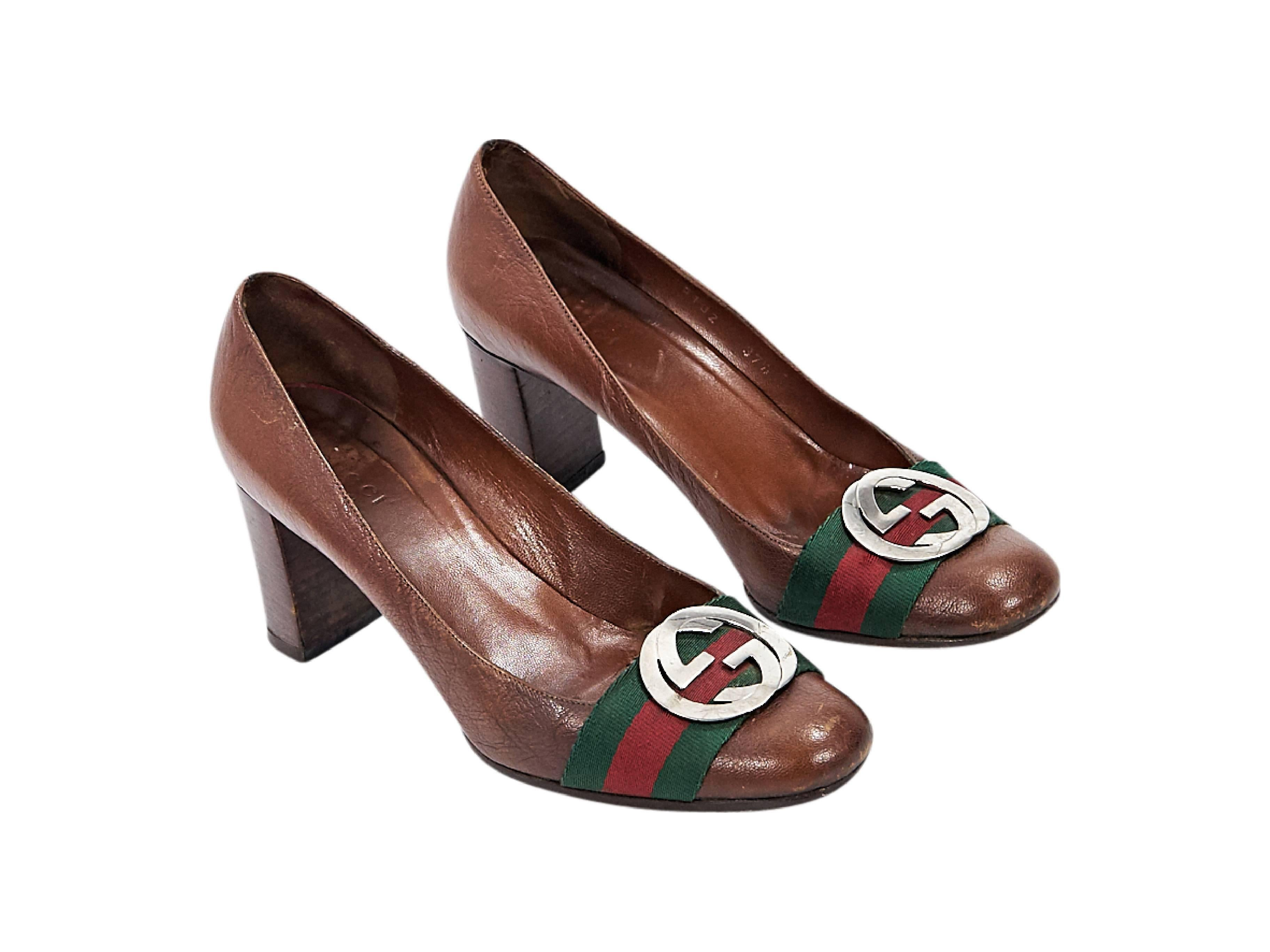 b9c409213 Comfortable Brown Vintage Gucci Leather Pumps For Sale At 1stdibs ...
