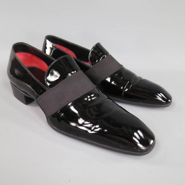 Men' Tom Ford Size 9 Black Patent Leather Ribbon Band Tuxedo Loafers 1stdibs