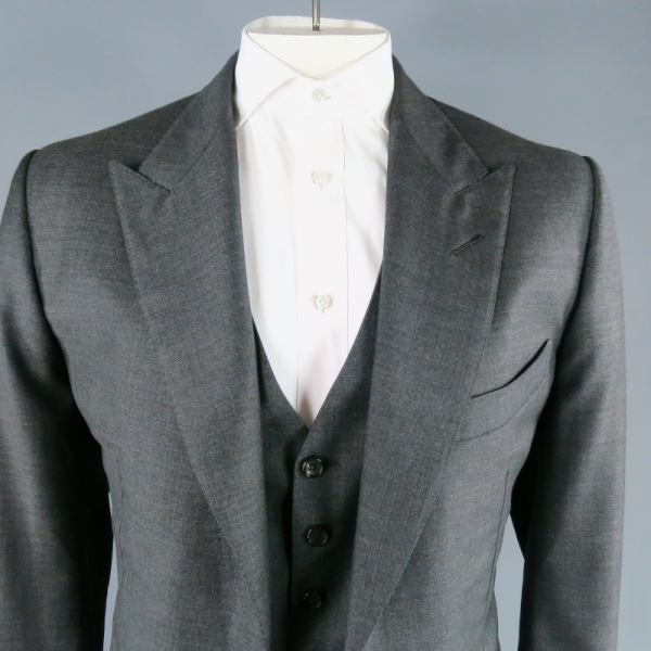 Tom Ford Men' 46 Long Dark Gray Wool Peak Lapel 33 34 3 Piece Suit 1stdibs