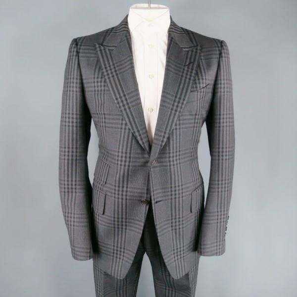 Tom Ford 44 Regular Dark Gray Plaid Wool Mohair Peak Lapel Suit 1stdibs