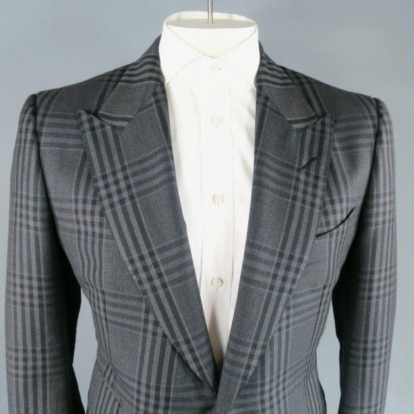 Dark Grey Suit Plaid