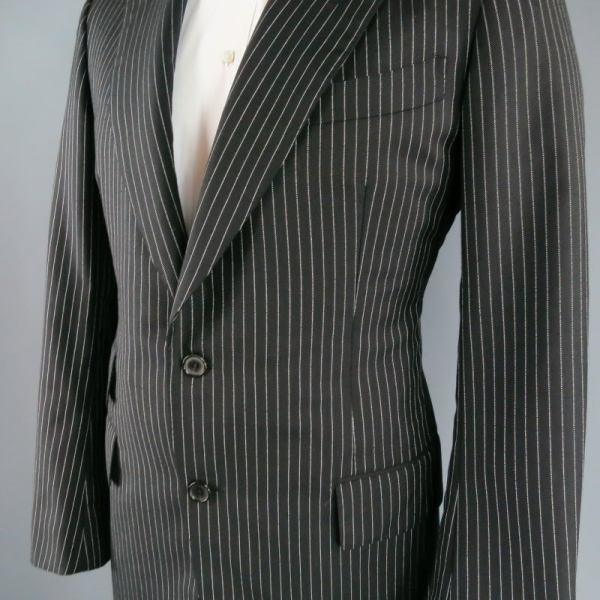 Black and White Pinstripe Suits for Men