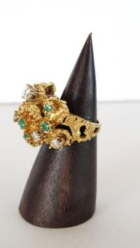 18K Gold Nugget Cocktail Ring with Diamonds and Emeralds ...