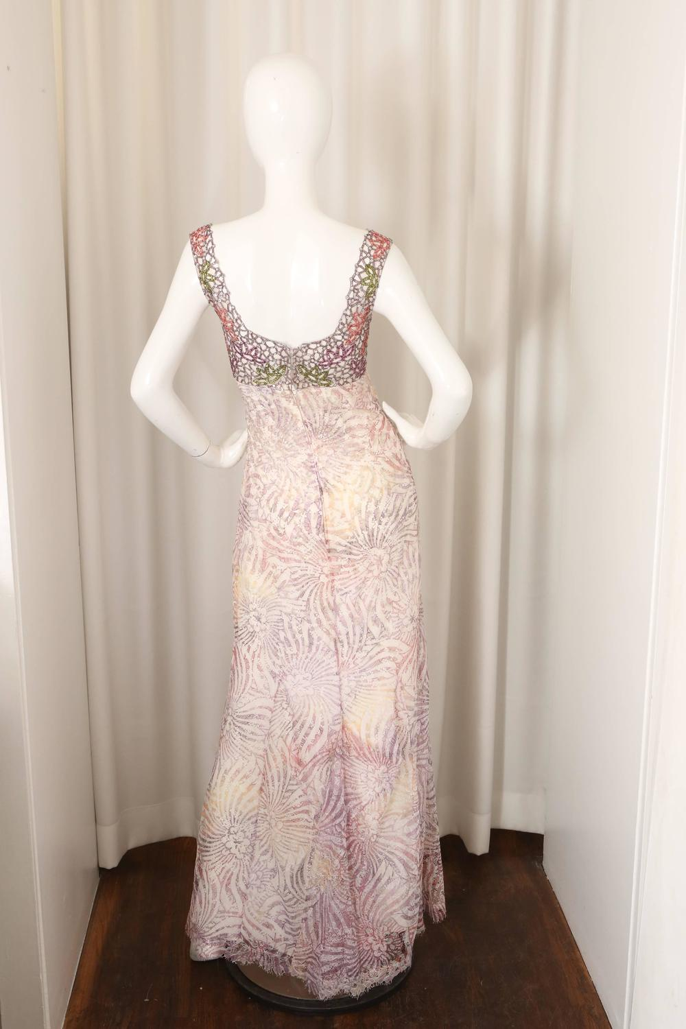Badgley Mischka Couture EmbellishedBeaded Gown W Train