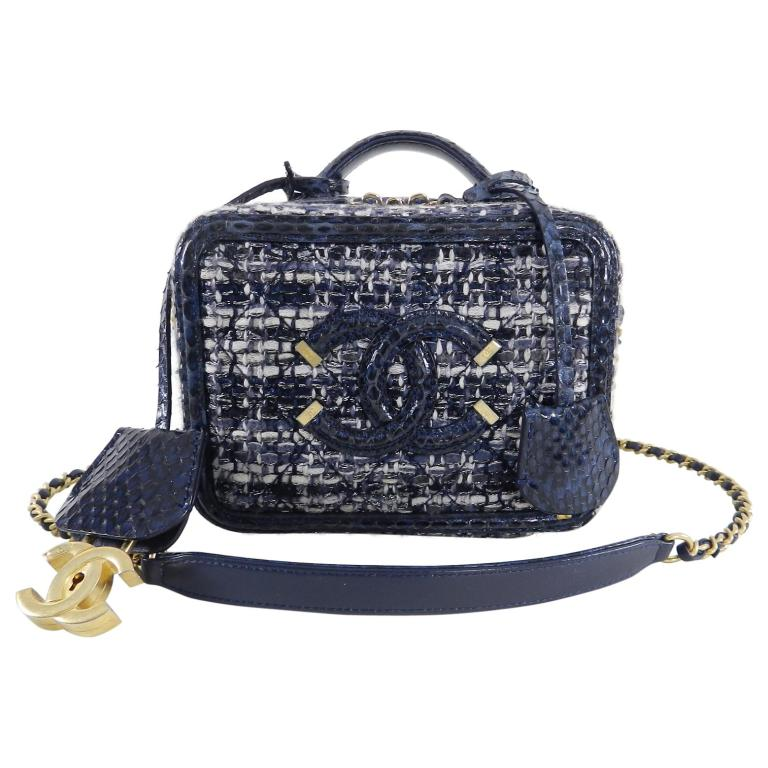 e04be4602c Chanel Blue Python Cc Filigree Vanity Case Bag 2018 At 1stdibs