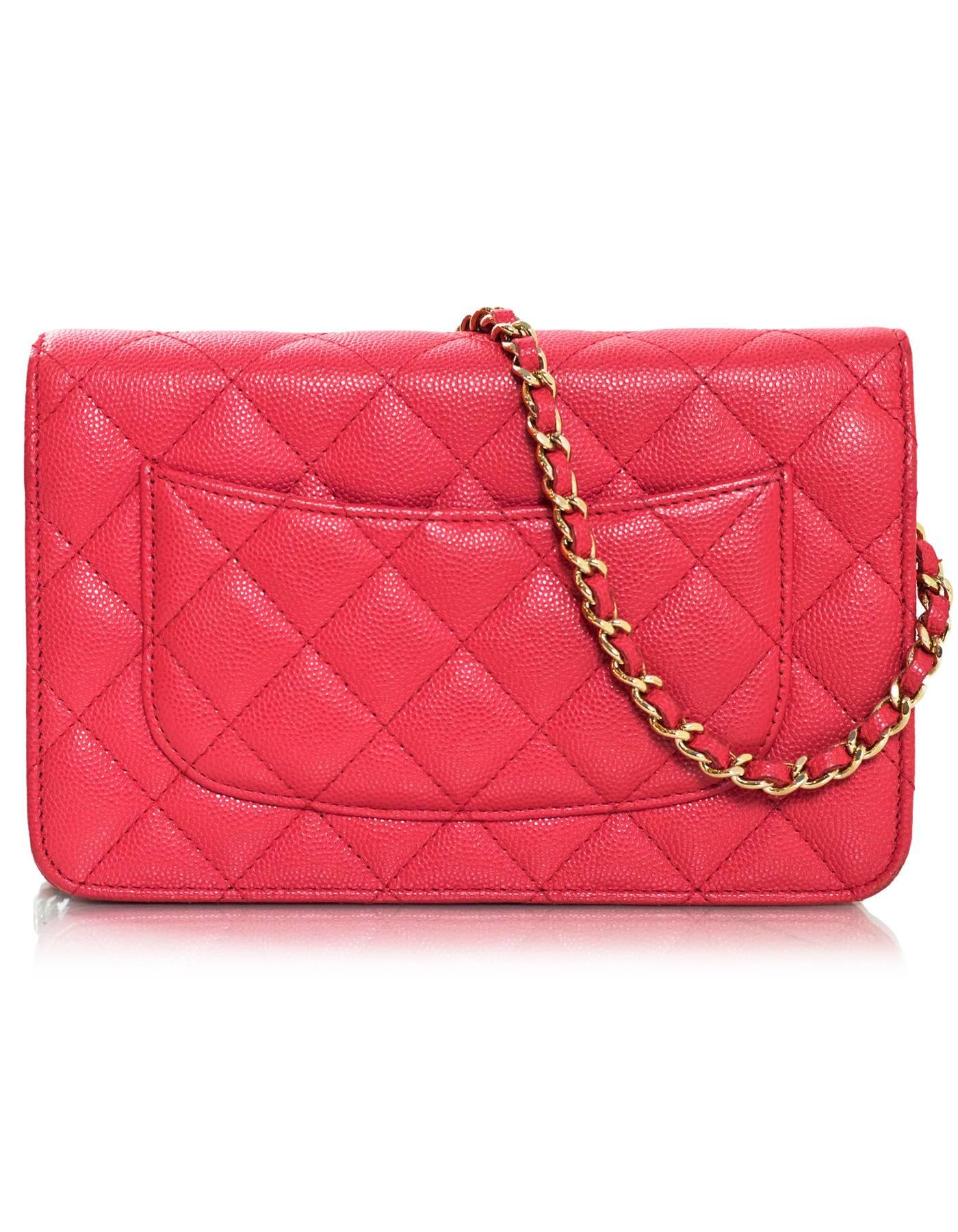Chanel 2017 Pink Caviar WOC Wallet on a Chain Crossbody Bag w. Box/DB/Receipt For Sale at 1stdibs