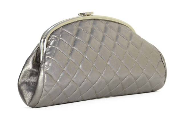 Chanel Metallic Pewter Quilted Timeless Clutch Bag Shw