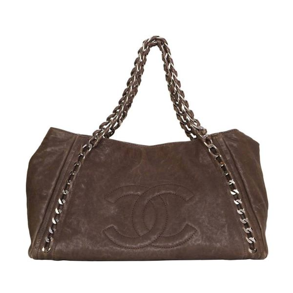 Chanel Brown Distressed Leather Tote Bag Shw 1stdibs