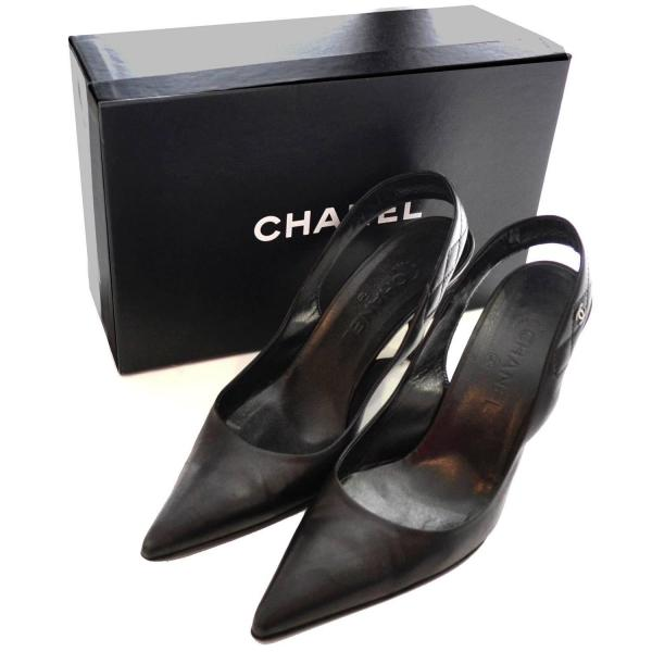 2000 Black Leather Chanel Slingbacks Shoes Heels Size 40