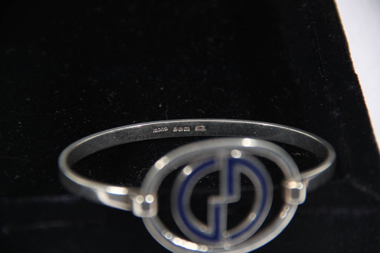 Gucci Authentic Vintage Sterling Silver Bangle Blue Enamel