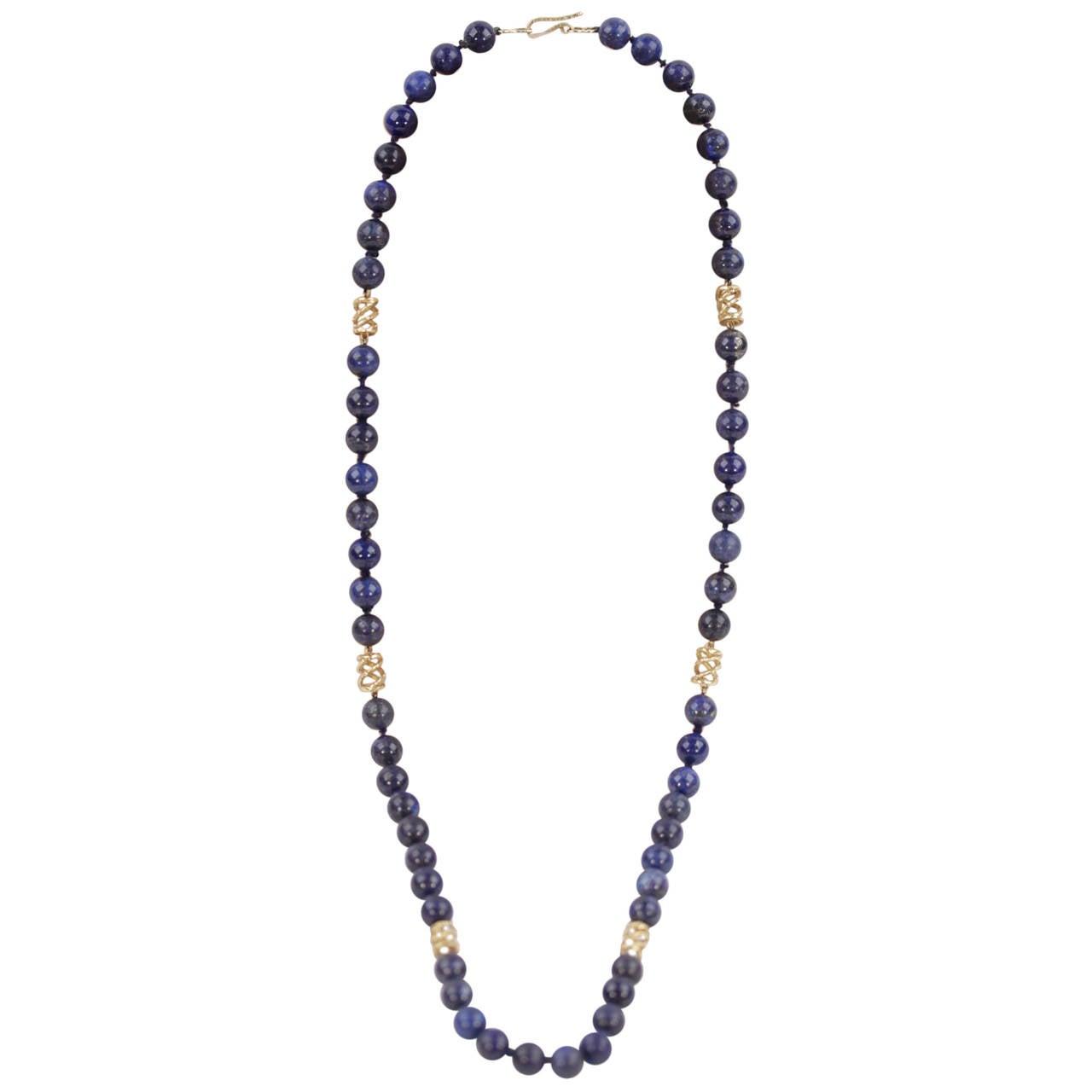 VINTAGE 1970s Blue LAPIS LAZULI GEMSTONE Beads NECKLACE w