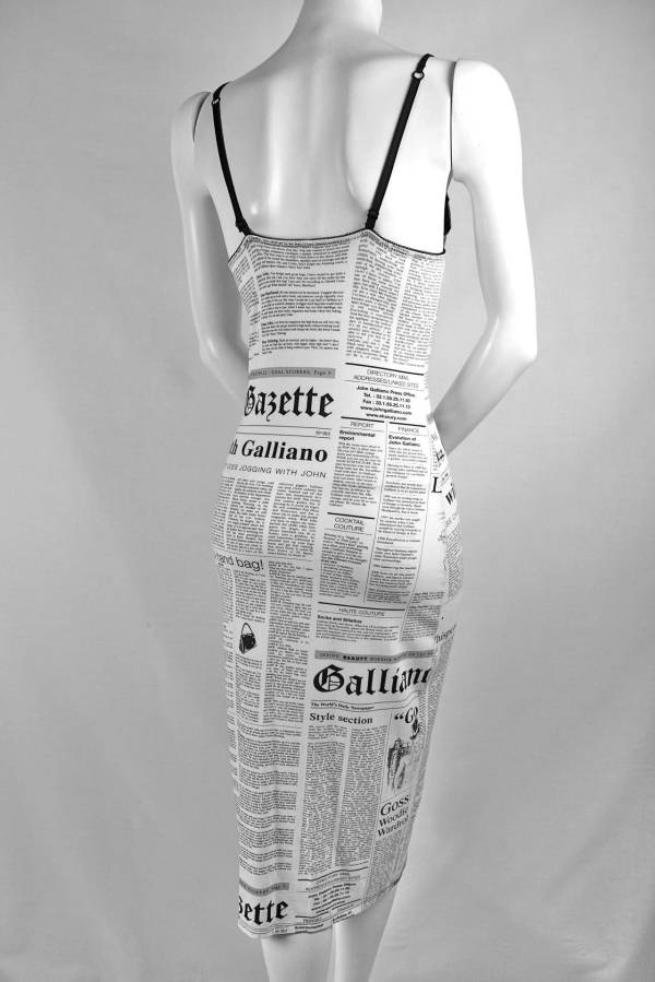 45fb1e87 John Galliano Newspaper Print Dress - Year of Clean Water