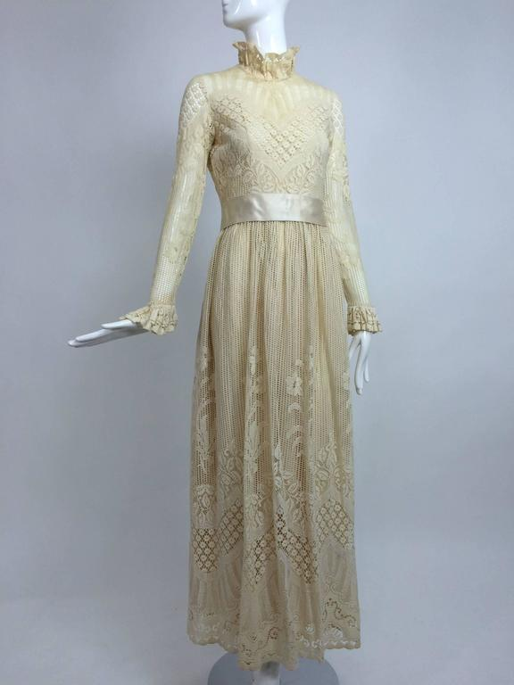 Vintage Miss Dior cream lace maxi dress 1970s For Sale at 1stdibs