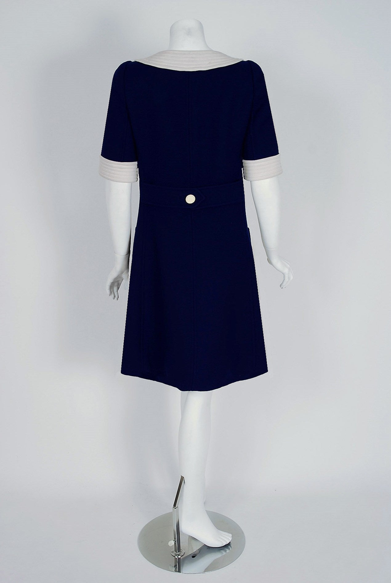 1967 Courreges Couture Navy Blue And White Wool Block