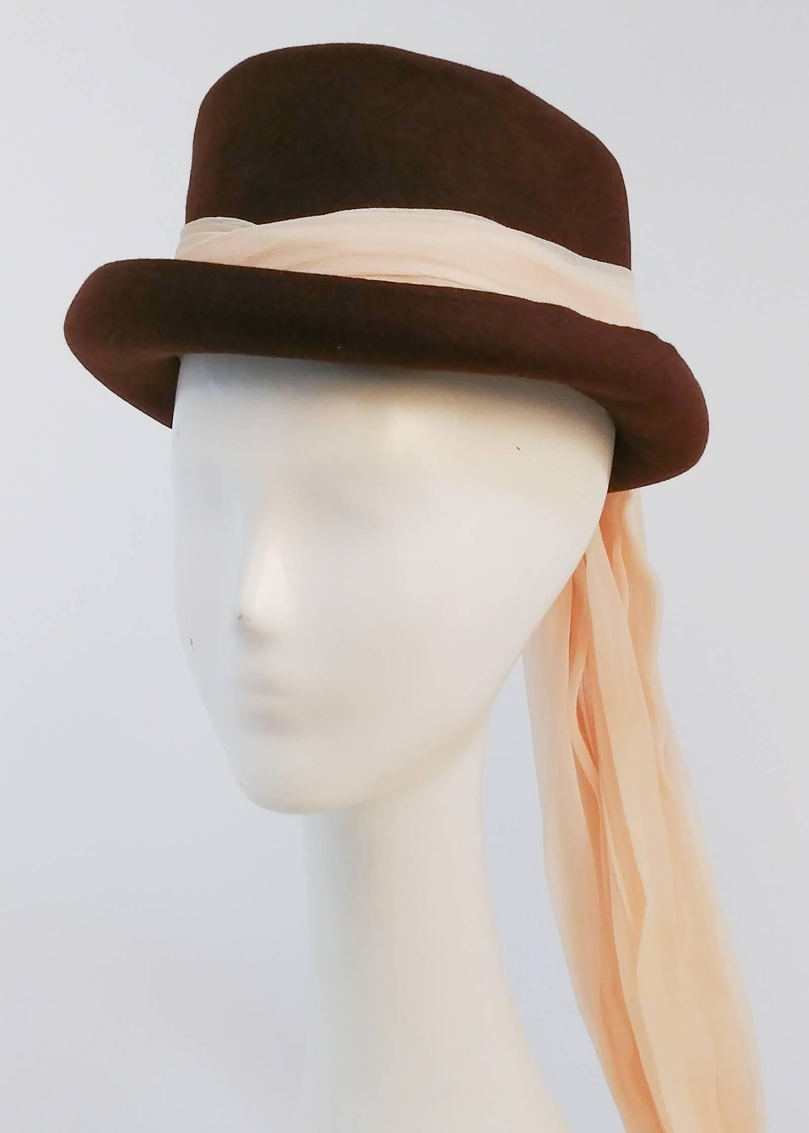 40s Stetson Fur Felt Hat W Long Chiffon Hatband For Sale