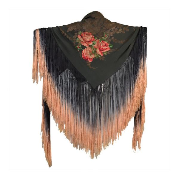 1920s Silk Lam Floral Piano Shawl With Fringe 1stdibs