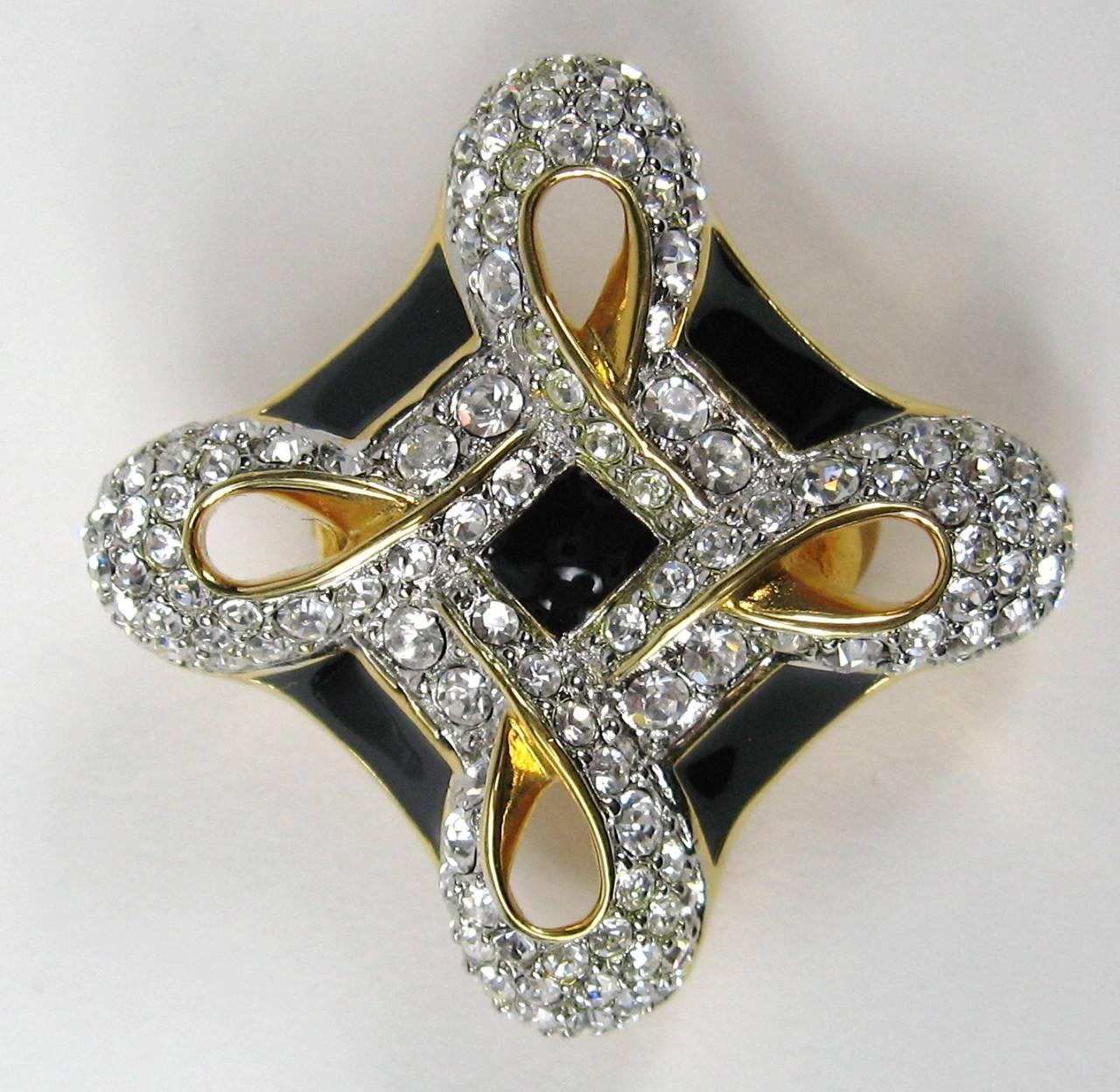 Swarovski Crystal Glitz Black Enamel Earrings Never Worn