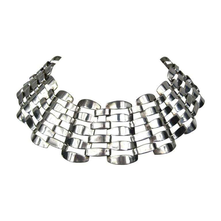 Vintage Wide caged sterling silver Mexican necklace Choker