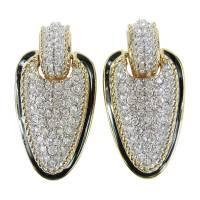 Daniel Swarovski Crystal Encrusted Dangle Clip on Earrings ...