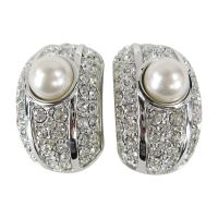 Swarovski Bezel Crystal and Pearl Clip on Earrings New Old ...