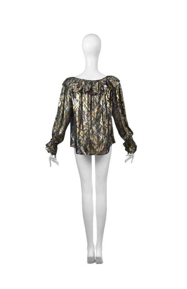 Yves Saint Laurent Gold Lame Plaid Ruffle Blouse