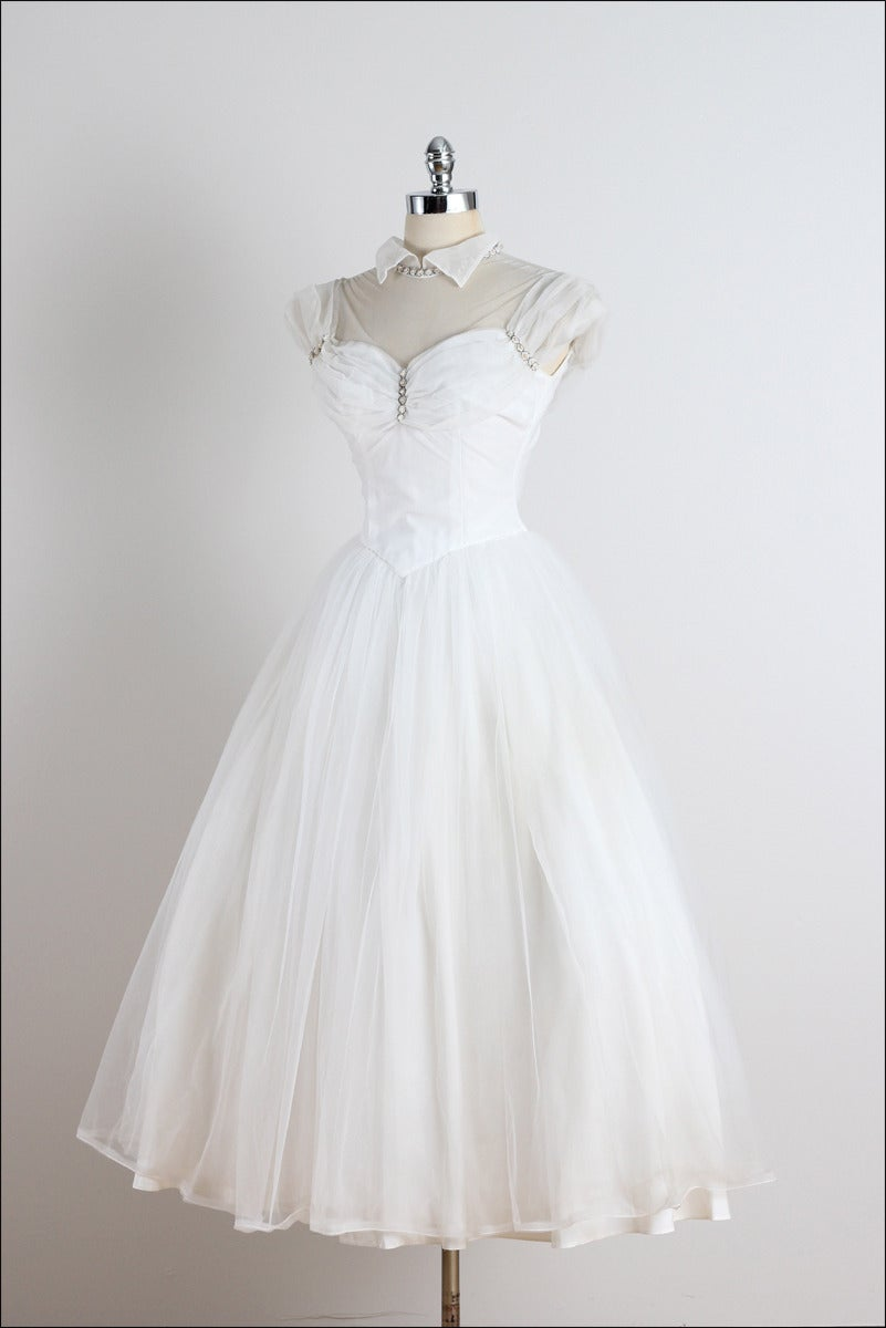 Vintage 1950s White Tulle Beaded Wedding Dress For Sale At