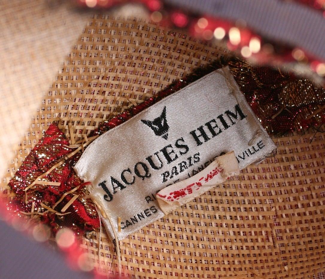 Jacques Heim Haute Couture Lame Broche Bowl Hat For Sale