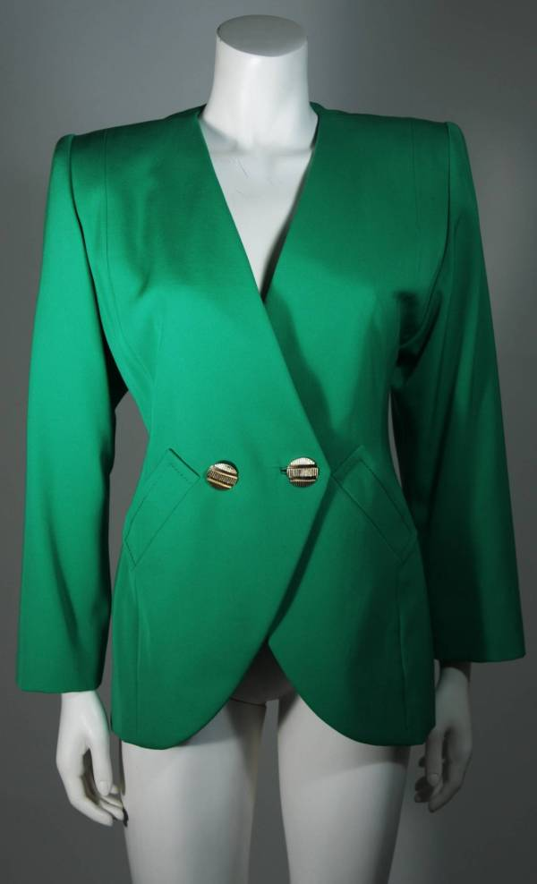 Galanos Couture Kelly Green Skirt Suit Size 2 4