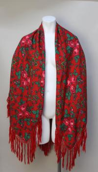 Vintage Red Russian Wool Challis Shawl with Fringe For ...