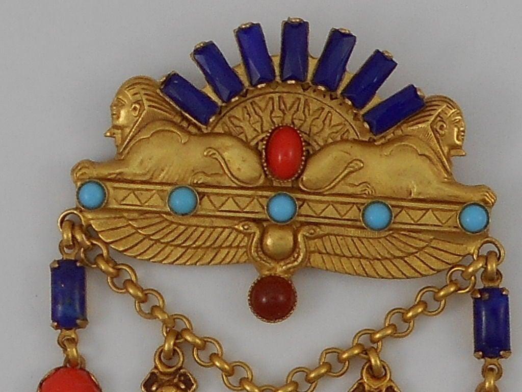 Askew London Egyptian Revival Double Sphinx Drop Brooch