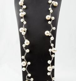 pearl magic long and elegant faux pearl necklace made of graduated round faux pearls on [ 923 x 1500 Pixel ]