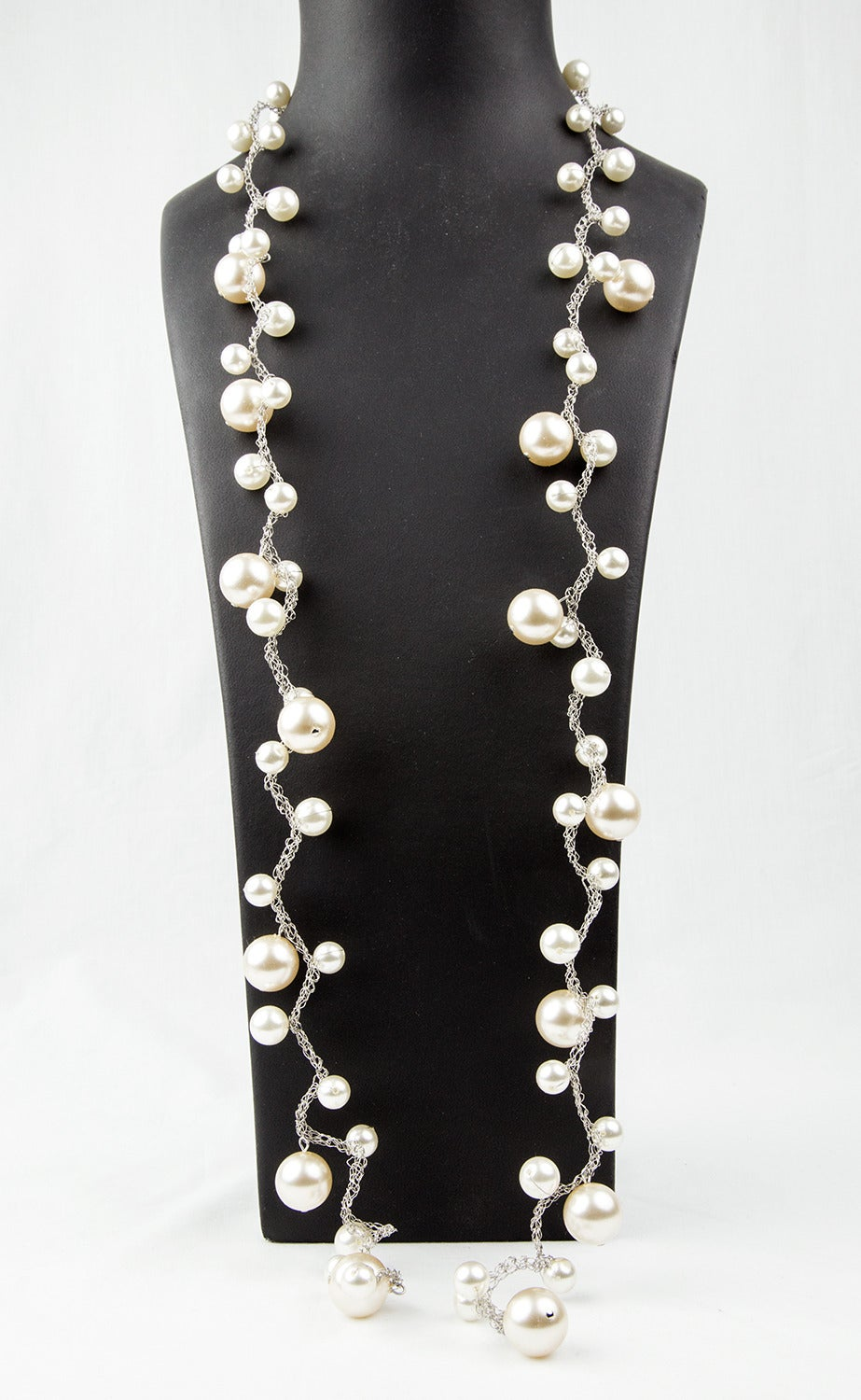 medium resolution of pearl magic long and elegant faux pearl necklace made of graduated round faux pearls on