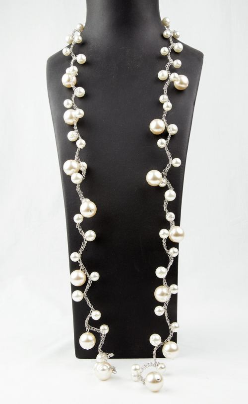 small resolution of pearl magic long and elegant faux pearl necklace made of graduated round faux pearls on