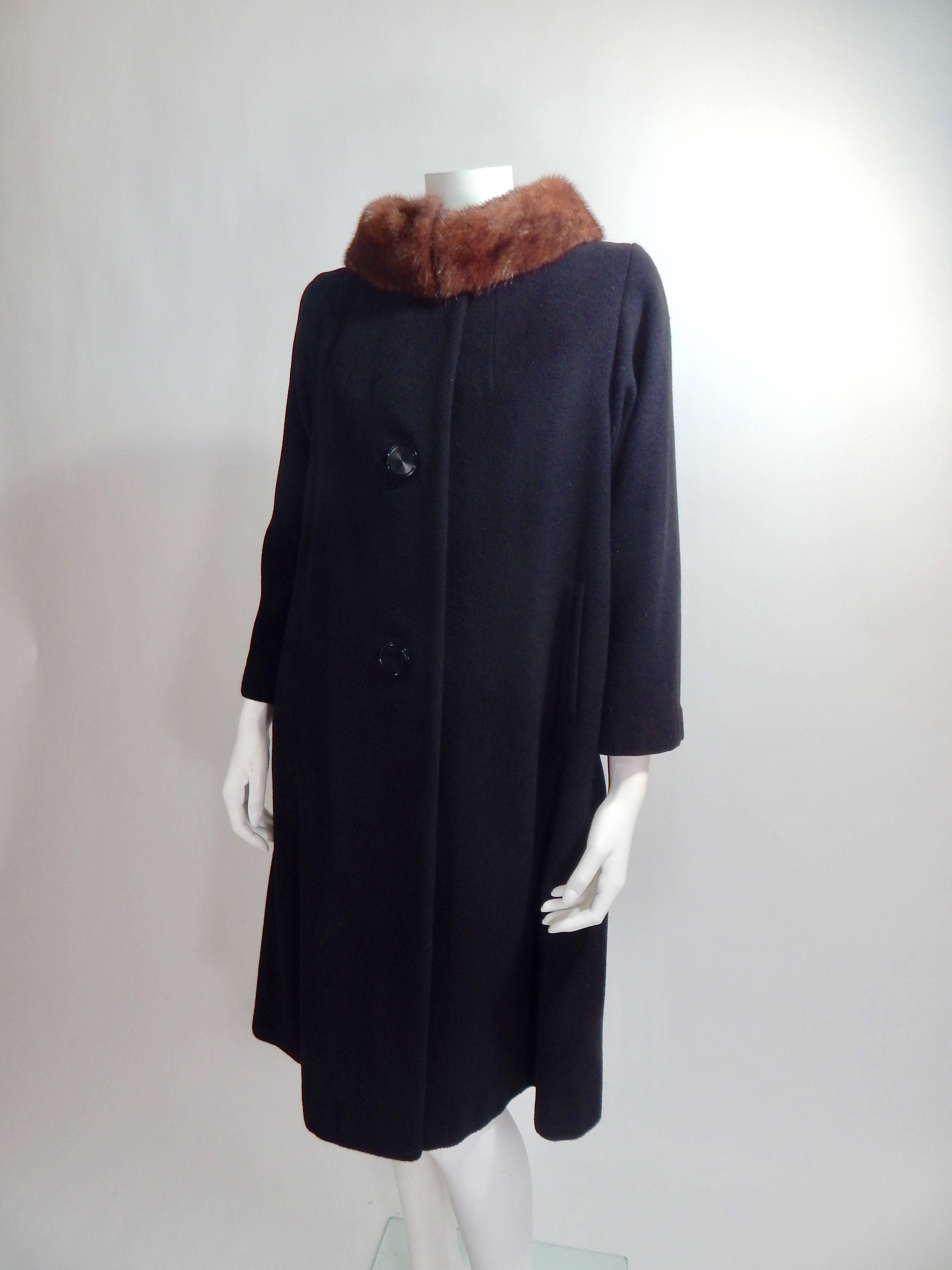 1950s Black Cashmere And Mink Fur Coat For Sale At 1stdibs