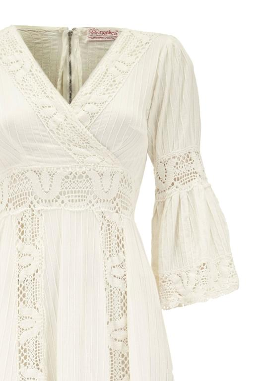 1970s White Cotton Vintage Mexican Wedding Dress at 1stdibs