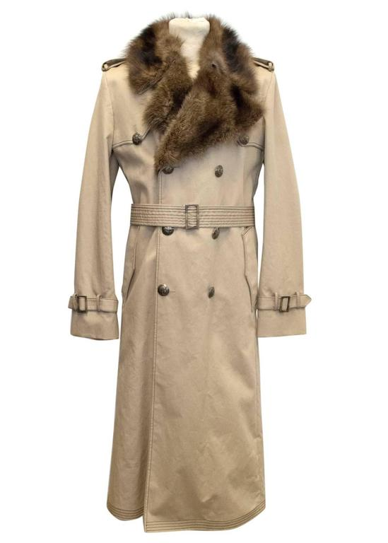 Fendi Mens detachable fur lined trench coat For Sale at