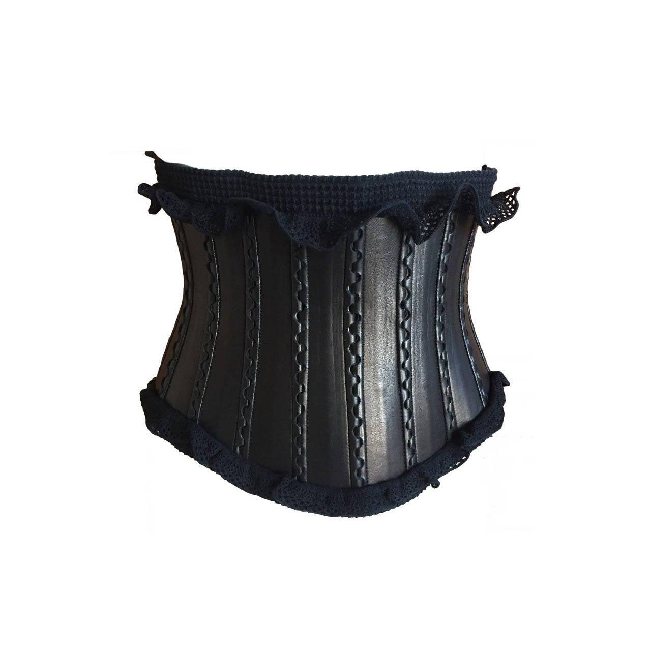alaia wide black leather