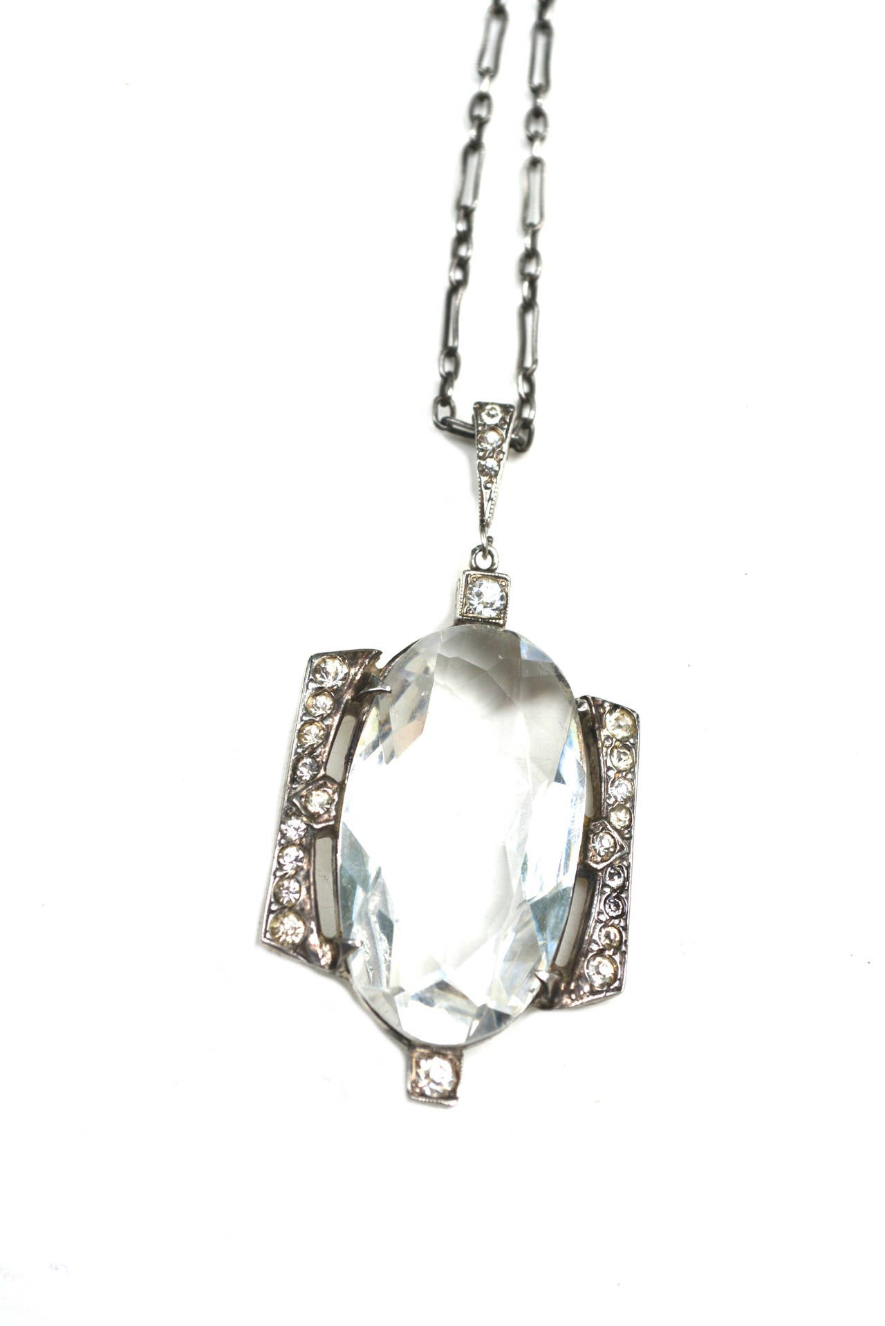 1920s Glass and Sterling Necklace at 1stdibs