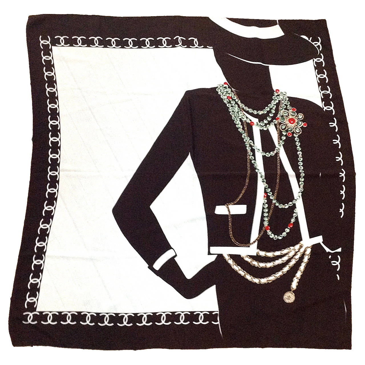 1990s Chanel Silk Scarf Brown And White With Coco Chanel Silhouette At 1stdibs