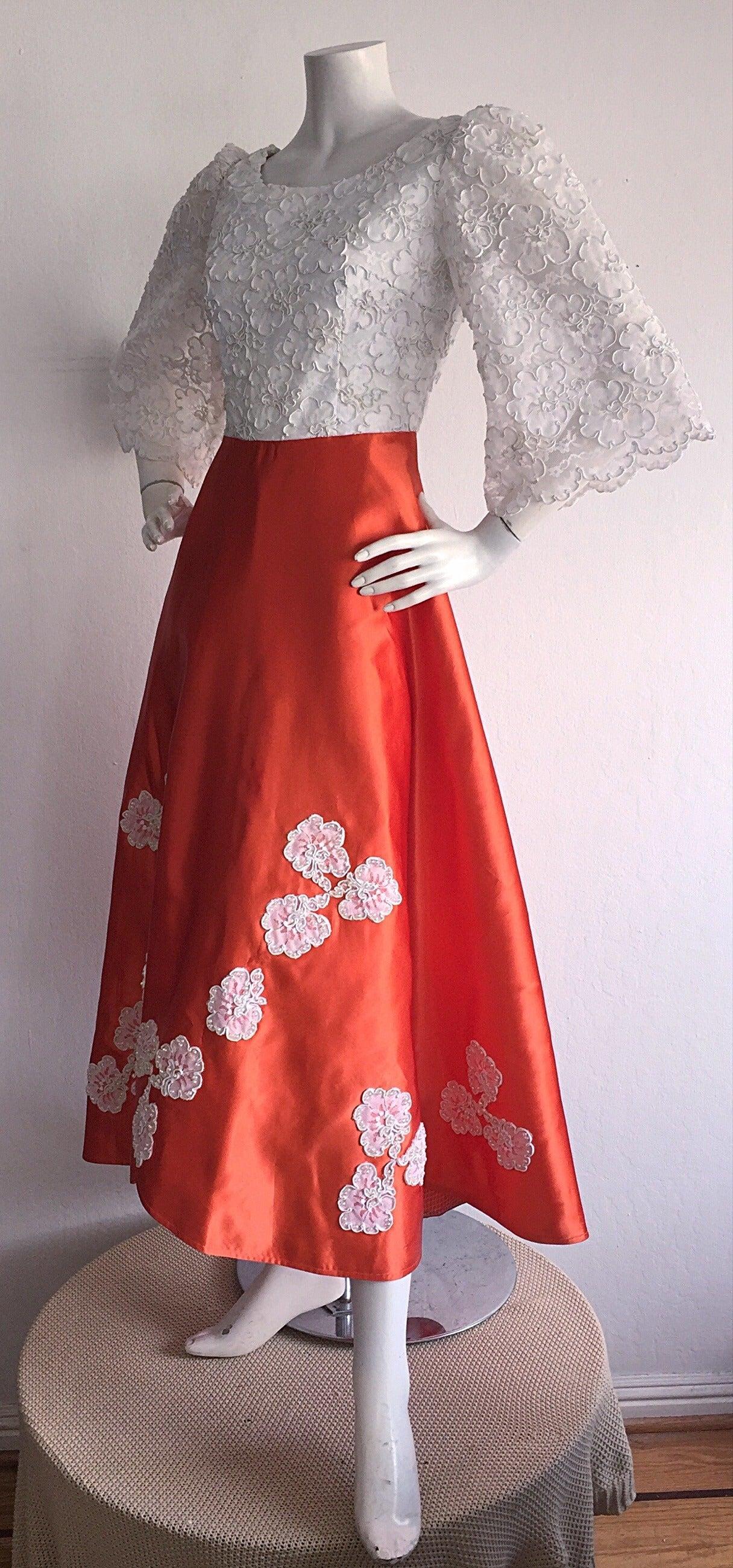 Gorgeous 1960s Orange Satin White Lace Bell Sleeve