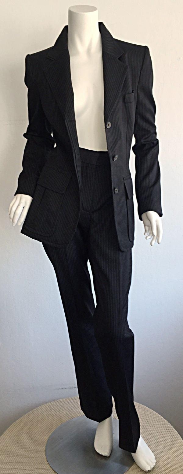 Tom Ford Yves Saint Laurent Black White Pinstripe Le Smoking Trouser Suit 1stdibs