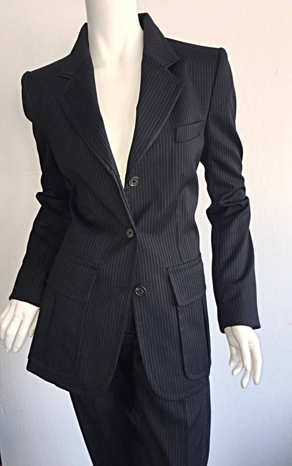 Black and White Pinstripe Suit