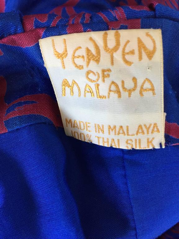 1960s Yen Yen Of Malaya Blue And Red Silk Vintage Ruffle