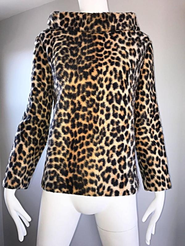 Chic 1960s Faux Fur Leopard Cheetah Print Vintage 60s Long Sleeve Sweater Top 1stdibs